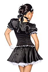 "6–Piece Maid Costume ""Alisia Maid Costume Outfit Dog Dress / Corset Headband Set-Satin Ribbon, 1 Pair of gloves, Frond XS-M (32–38)"