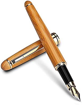 Pluma, plumín mediano de escritura suave, resistente, pluma de caligrafía con caja de bambú hecha a mano y pluma Metal favorito, regalo día del padre