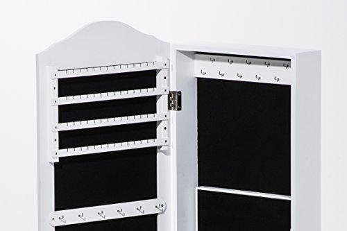 CLP Schmuckschrank SUAREZ mit Spiegel | Spiegelschrank mit Haken für Ketten und Steckplätzen für Ringe Weiß - 2