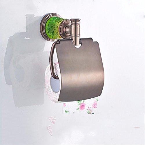 SADASD Europäischen und Amerikanischen Stil braun matt Rot Toilettenpapierhalter Bad Zubehör Set mit Kupferstäbe Glas