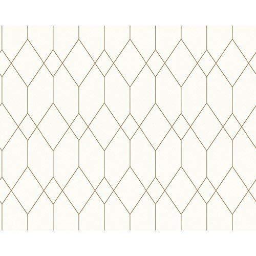 AS Creation ESprit Designer Tapete Rautenprofil Art Deco Geometrisch Motiv - Weiß Gold 327921 (Tapeten-designer)
