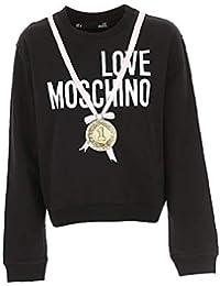 Love Moschino Felpa Donna w630619e2004 c74 Black con Logo e medaglia ss19 2b3cdb74ad9