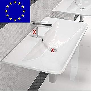 Design Waschtisch Waschbecken 90cm zur Wandmontage | Material: hochwertiges Mineralguss | Made in EU | hochwertig verarbeitet (90cm, Weiss)