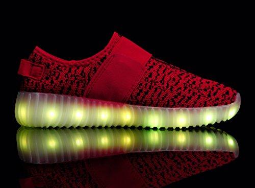 Santiro Chaussures à LED unisexe à recharge USB Rouge