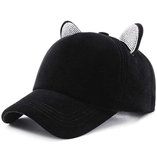 LLCP Cat Es Ear Cap, Winter Gold Velvet Strass Baseball Hut, Herbst Und Winter Warmer Hut,B -