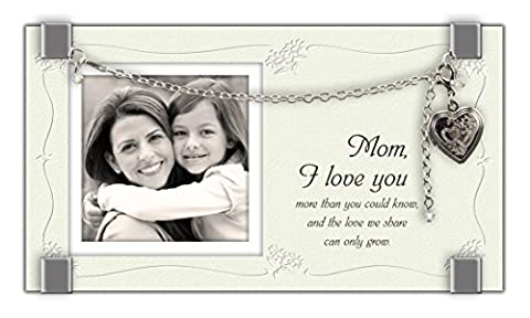 Cathedral Art GF209 Mom Glass Frame with Heart Locket and Bracelet, 6-3/4 by 3-3/4-Inch
