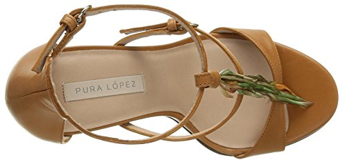 Pura Lopez Ah110, Sandales femme Marron (Baby Nap Safran)
