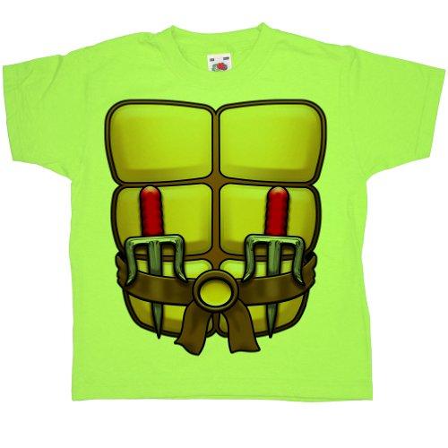 (Refugeek Tees - Kinder Dress Up T Shirt - Ninja Turtle - 9-11 years - Lime Green)
