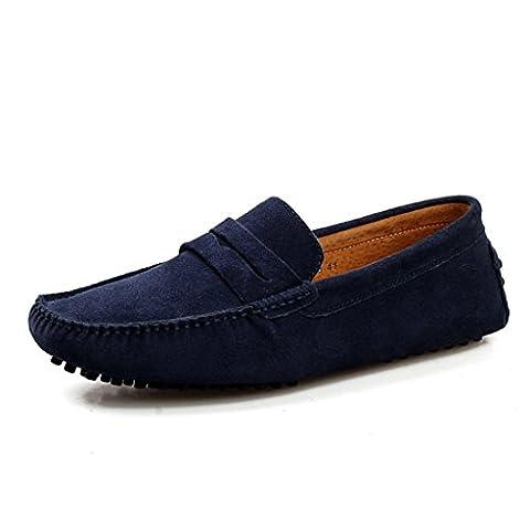 Men's Minitoo rayures Multicolore chaud Chaussons mocassins en daim pour chaussures bateau Loafers, Bleu - bleu, 44 EU