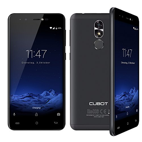 Cubot R9 (2017) Andriod 7.0 Nougat Smartphone 2GB RAM, 5.0 Inch Touch-Display Handy Ohne Vertrag mit Fingerprintsensor, Micro-Sim und Nano-Sim (Schwarz)