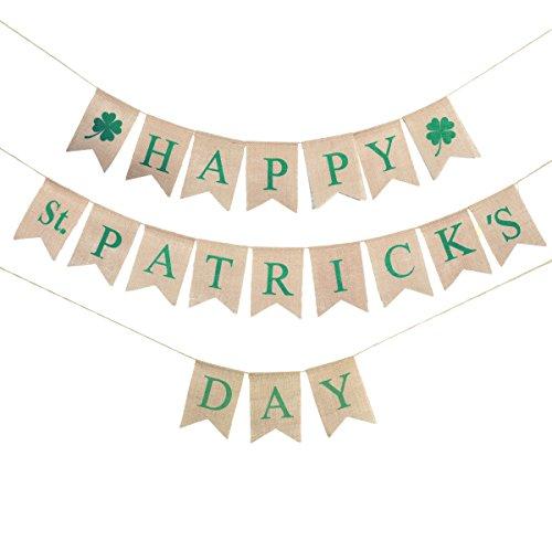 LUOEM Glücklichen St Patrick Tagesfahne grüne Kleeblatt-Fahnen Irische vier Blatt-Klee-Girlande St.Patrick Day ()