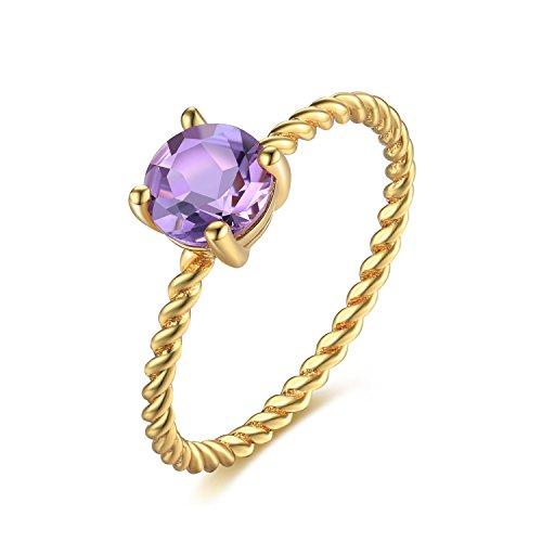 Amethyst-ring-rund - (JewelryPalace Elegance 0.7CT Rundes echtes Amethyst Verlobungsjahrestags-Hochzeits-Ring 925 Sterlingsilber)