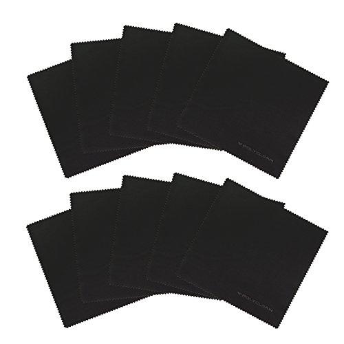 POLYCLEAN 10x Mikrofaser-Reinigungstuch + 1x Gratis Ultratuch – Brillen-Putztuch für Glas, Tablet, Laptop, iPad & co. – Display-Schutztuch in Premiumqualität (17,5 x 17,5 cm, Schwarz)