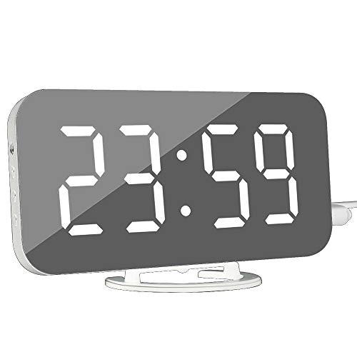 DollaTek Reloj de Alarma Digital - Reloj Despertador Moderno con Puerto USB Reloj con Espejo Digital...