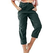 5fd389660 Logobeing Pantalones Pantalón Largo Completo con Botones de Bolsillo de Pana  Sólida de Moda de Mujer