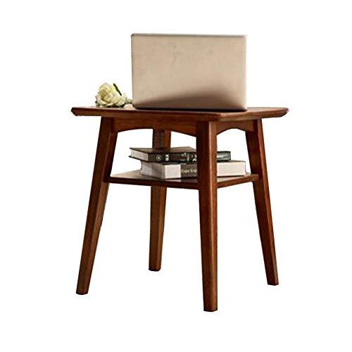 Tables CJC 2 Niveau Chêne Petit café Étagère Solide en Bois Carré Téléphone Côté Lampe Chevet de Nuit Fin Occasionnel Basses (Couleur : Black Walnut)
