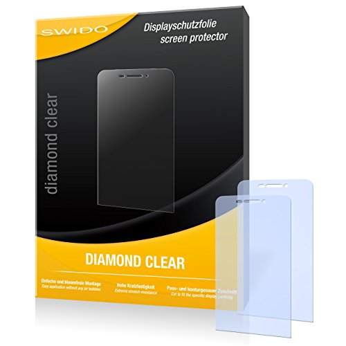 SWIDO 2 x Bildschirmschutzfolie Wiko Wax Schutzfolie Folie DiamondClear unsichtbar