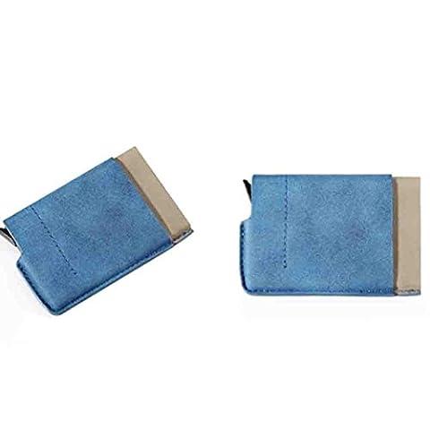 Porte-Carte de Crédit Portefeuille Affaires Nom, QinMM Titulaire Cas Portefeuille Crédit Livre Avec Fermeture Porte-monnaie (Blue)