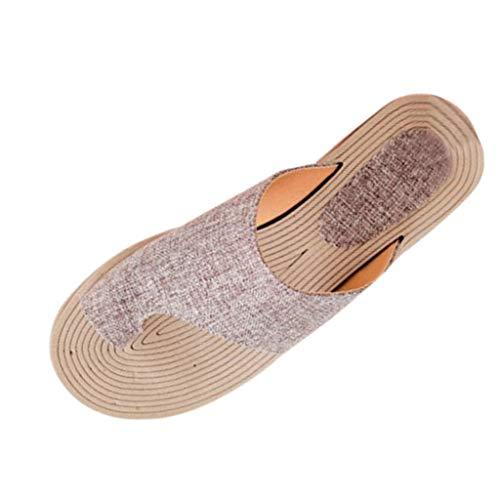 COZOCO Damen Sommer Mode Rope Flats Strand Hausschuhe Open Toe Sandalen Römersandalen Shallow Flip Flops(Khaki,41 EU)