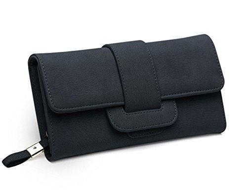 DNFC Geldbörse Damen Portemonnaie Lang Portmonee Elegant Clutch Handtasche Groß Geldbeutel PU Leder Geldtasche mit Reißverschluss und Druckknopf für Frauen Neu Design (Schwarz) -