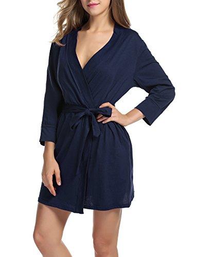 UNibelle Damen Morgenmantel 3/4 Ärmel Bademantel Kimono Baumwolle Saunamantel Robe Negligee Mit V-Ausschnitt Navy Blau M - Reißverschluss Für Damen Mit Nachthemden