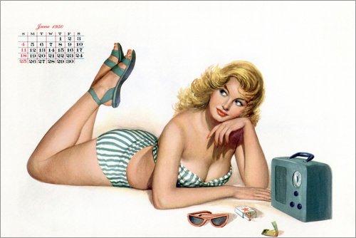 Maillot Anzug (Posterlounge Leinwandbild 90 x 60 cm: Mädchenkalender (März 1950) von Bridgeman Images - fertiges Wandbild, Bild auf Keilrahmen, Fertigbild auf echter Leinwand, Leinwanddruck)