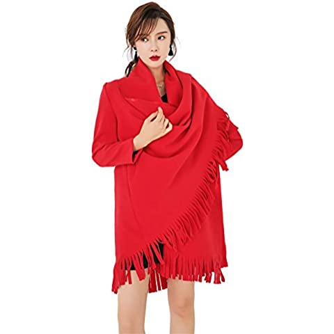 LAI MENG Women Poncho fringed with Cashmere ? Great alternative for your sweaters, cardigans, jackets and t-shirts