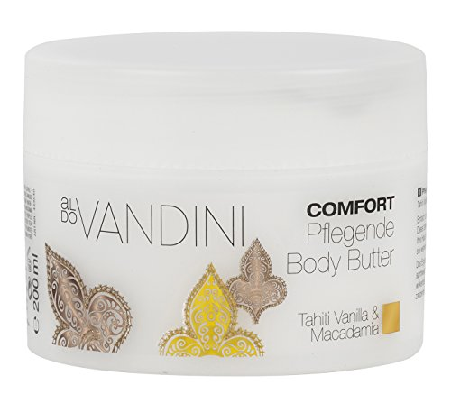 aldoVANDINI COMFORT Pflegende Body Butter Tahiti Vanilla & Macadamia - vegan & parabenfrei, 1er Pack (1 x 200 ml)