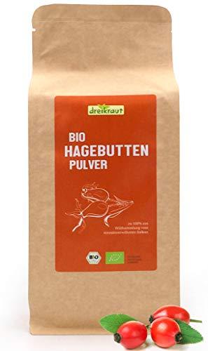 Bio-Hagebuttenpulver von dreikraut - 1 Kg - aus EU-Wildsammlung - Rohkostqualität, zu 100% aus ganzen Bio-Hagebutten