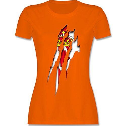 Länder - Nordirland Krallenspuren - tailliertes Premium T-Shirt mit Rundhalsausschnitt für Damen Orange