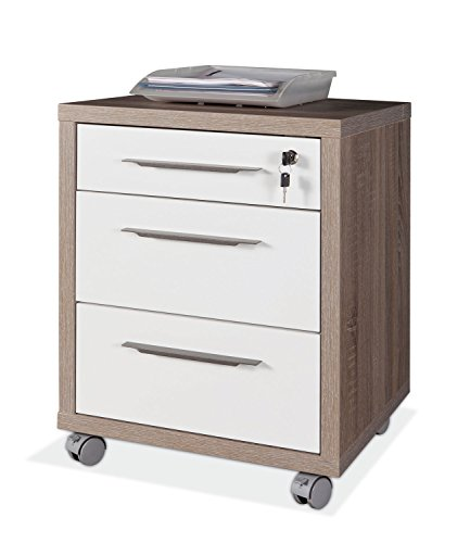3 Schublade Eiche Schreibtisch (Rollcontainer Schubladenschrank DELA 8 | Weiß Hochglanz | Eiche | 3 Schubladen | Abschließbar)