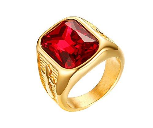HIJONES Herren 21MM Edelstahl Rot Stein Kreuz Ring Gold Überzogen Größe 65 (Rubin-gold-ring Für Männer)