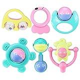 Hemore Baby Toys 6 Rasseln Beißringe Set Greif- und Spinnglocke Rassel Geschenk Spielzeug für Neugeborene Mädchen Jungen Candy Farben Gesundheit Baby Pflege