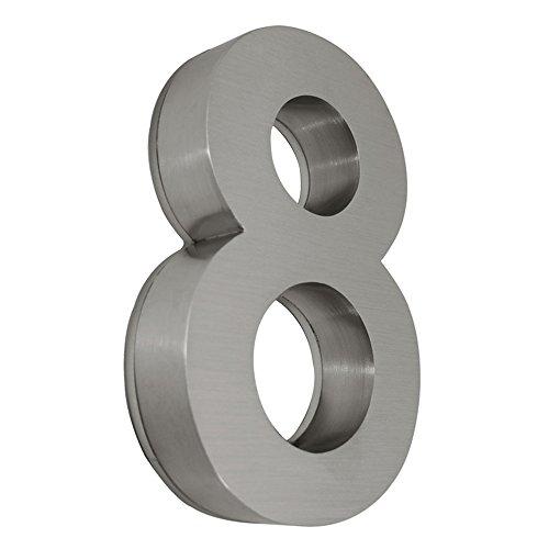 MCTECH® 3D-Design LED Hausnummer Edelstahl , 304 inkl. Montagematerial, Türnummer Türschild Arial Nr. (8)