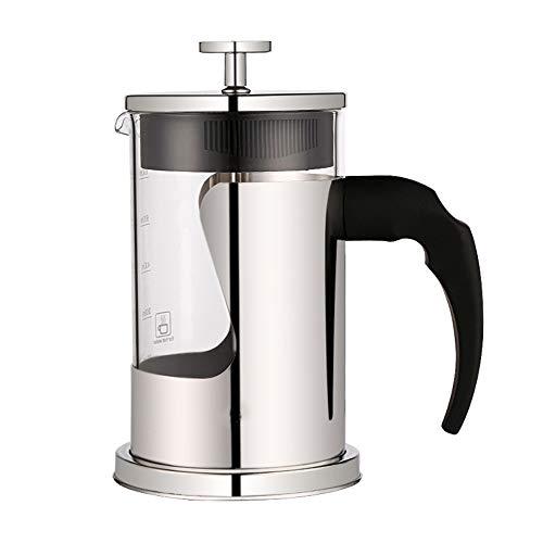 GuLouFanA French Press Coffee Maker (20 oz 5 Cups) Coffee Press mit 304 Edelstahl-Stauspack-Skala einfach zu reinigen, langlebige Hitze resistent Glas & Edelstahl - Cup French Press Coffee Maker Ein