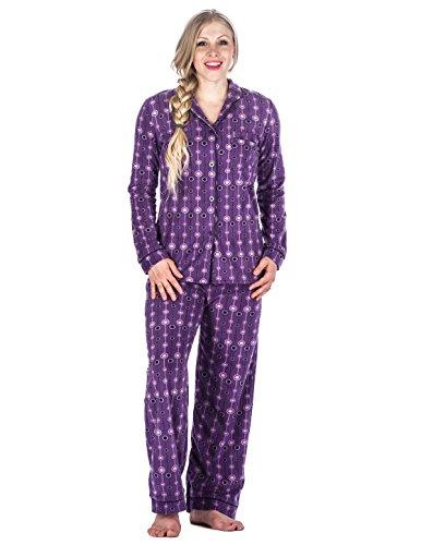 Noble Mount Ensemble de Pyjama en Micro-Polaire- Imprimé pour femme Bulles Violet