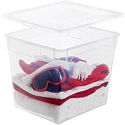 Rotho Aufbewahrungsbox Clear Box Deep Sweater 31 L Deckel QR-Code AppMyBox - 31 L. Volumen - (LxBxH) 40x33.5x36 cm - transparent - stapelbar - Kunststoff/Plastik (PP) - Div. Größen