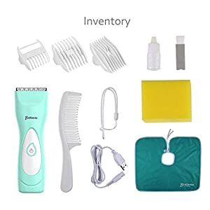 Haarschneider Elektronisch Baby, Katue Tatze USB Wiederaufladbare Haarschneider für Baby und Kinder, Stumm Wasserdicht Haarschneidemaschine Kit mit Safe Ceramic Blade, 3 Schutzkamm
