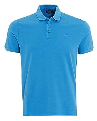 Armani Jeans Mens Polo Shirt Plain Blue Muscle Fit Polo