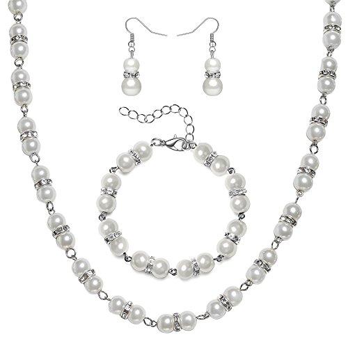 ArtiDeco 1920s Damen Halskette Hochzeit Braut Schmuck Accessoires Set Imitation Perlen Kette Retro Stil Armband und Ohrringe Gatsby Kostüm Zubehör (Weiß)
