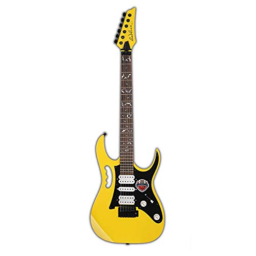 Miiliedy Persönlichkeit Coole Mode E-Gitarre Anfänger Erwachsene Praxis Professionelle Rock Metal E-Gitarre Set mit Tasche, Gurt, Schnur, Kabel, Pick, Zubehör ( Color : Yellow )