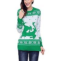 Otoño e Invierno Cuello Redondo Camisa de Manga Larga Polar Impreso suéter de Navidad suéter suéter Sudadera