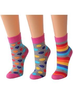 3er Mädchen/Damen Socken 'Farbenfroh' rosa/grau RS20970