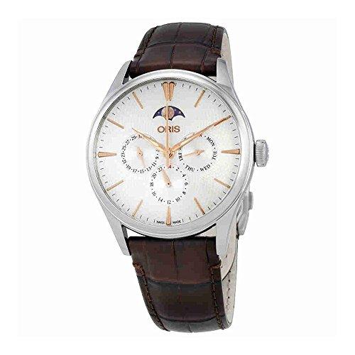 Oris Artelier argento quadrante automatico uomo multifunzione orologio 0178177294031–0752165FC