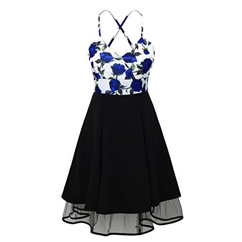 Laeticia Dreams Damen Petticoat Pin Up Rockabilly Kleid Blumen S M L XL Weiß Blumenmuster Blau