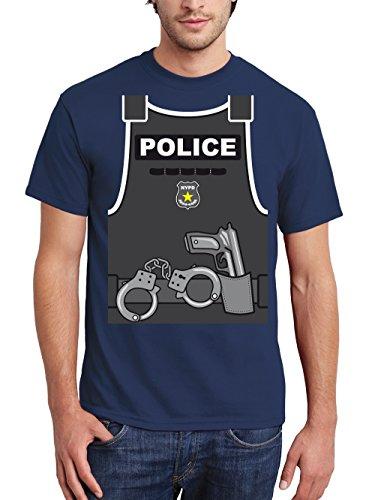clothinx Herren T-Shirt Karneval 2019 Polizei-Kostüm Navy Größe XXL (Lustige Gruppe Kostüm Ideen Für Männer)