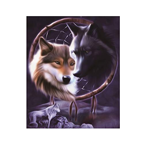 Wolf Herren Kit Kostüm - 30x40cm 5D Embroidery Paintings Rhinestone Sweet Home Embroidery Painting DIY Diamond Painting Cross Stitch Wall Decorations with Full Flap Diamond Picture Cross Stitch Kit (natur-A, 48x30cm)