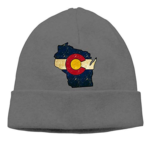 Wisconsin Outline Colorado Flag Warm Stretchy Solid Daily Skull Cap Knit Wool Beanie Hat Outdoor Winter - Wisconsin Bb