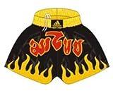 Adidas THAI-BOXHOSE M schwarz gelb Hose Short Shorts