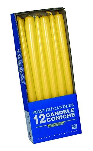 velas cónicas para candelabro (Cera, Amarillo, 2.2x 25cm, 10uni